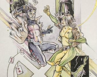 Rogue/Gambit - A3 original artwork