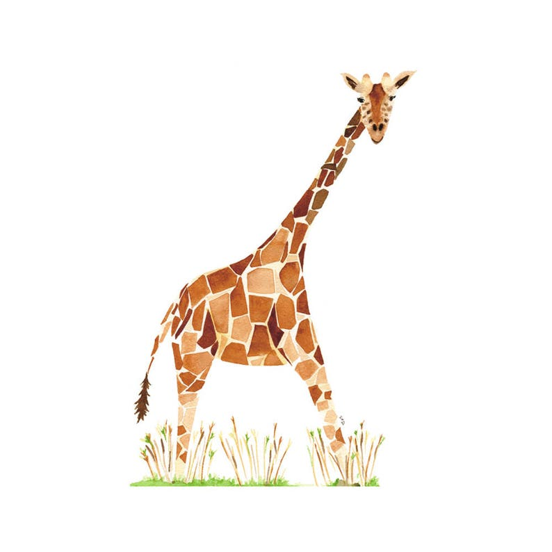 Decor Gift Baby shower Giraffe Watercolor Print Animal Kids Decor Safari Decor