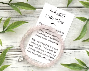 Sister in Law Gift Bracelet - Bead Bracelet with Meaningful Message Card & Gift Box - Rose Quartz