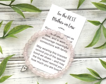 Mother in Law Gift Bracelet - Bead Bracelet with Meaningful Message Card & Gift Box - Rose Quartz