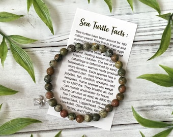 Sea Turtle Bracelet with Info Card and Gift Box