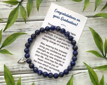 Graduation Gift for Her – Bracelet with Meaningful Message and Gift Box - Lapis