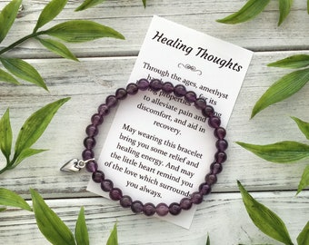 Healing Thoughts Get Well Gift for Women – Bracelet with Sweet Message Card, Box & Bow