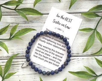Sister in Law Gift Bracelet - Bead Bracelet with Meaningful Message Card & Gift Box - Lapis