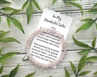 For My Wonderful Sister – Bead Bracelet with Meaningful Message Card & Gift Box - Rose Quartz