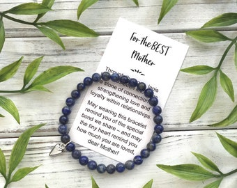 For the Best Mother – Bead Bracelet with Meaningful Message Card & Gift Box - Lapis