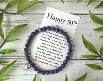 50th Birthday Jewelry Gift - for a Woman Turning 50 – Bead Bracelet with Meaningful Message Card & Gift Box