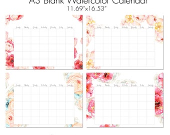 "A3 Blank Watercolor Floral Calendar. 16.53"" x 11.69"" Instant Printable Wall Calendar. Poster Calendar. Set of 4. Re-useable under glass"