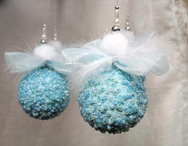 Beaded Christmas Ornaments.Blue Christmas Ornaments Blue Beaded Christmas Decoration Beaded Ornaments Christmas Bauble Miniature Ornament Glass Bead Ornament