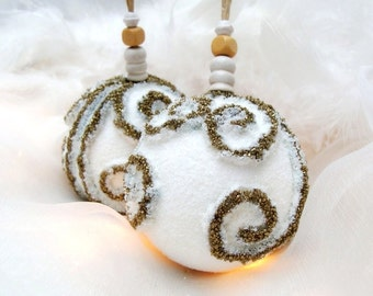 White Christmas Ornaments, Christmas Decorations, Tree Ornaments, Christmas Ornaments, Christmas Baubles, Handmade Ornaments, Christmas Ball