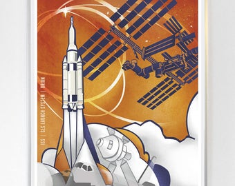 16 x 20 - International Space Station - Orion , Science Poster Art Print  - Stellar Science Series™ - Wall Art