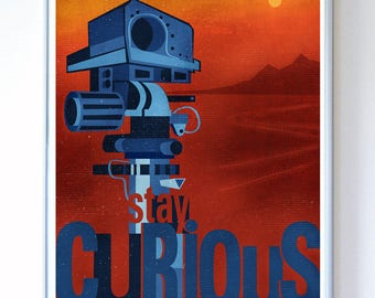 13 x 17 - Mars Curiosity Rover Space Probe, Science Poster, Art Print, Illustration - Stellar Science Series™