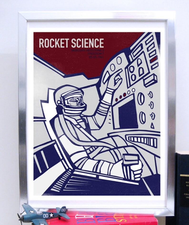 LARGE Mercury Redstone 3 Freedom 7 Capsule, Science Poster, Art Print NASA  art, Stellar Science Series
