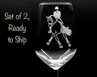 2 Dressage Horse Wines. LASER ENGRAVED w/ New, Original Half Pass Art. Ready to Ship. Last set.  Personalization Available.