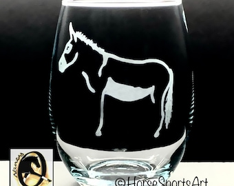 DONKEY Wine Glasses - Each Hand Etched with Original Art- Choose 2 or 4 Stemless or Stemmed Wine Glasses