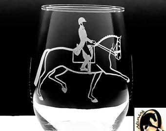 Dressage Horse Wines. LASER ENGRAVED w/ Original Horse & Rider in Extended Trot Art. Choose 2 or 4 Stemless or Stemmed Wines