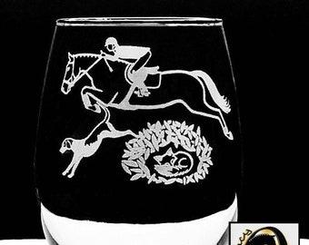 2 or 4 Drag Hunting (NOT Fox Hunting) Laser ENGRAVED Wine Glasses - Hunt Club, OTTB Hunter Horse, Hound Trailing Fox Hound Wines