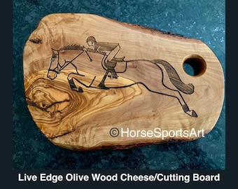 SALE:Live Edge Olive Wood Cheese Cutting Board, Laser Engraved with New Original Hunter Jumper Horse & Rider Art by Nancy Qualls.Rider Gift.