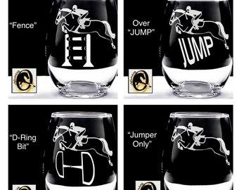 2 or 4 Custom Jumping Horse Wines >LASER ENGRAVED Choose Glass Style. OTTB Horse, Hunter, Open Jumper, Equitation, Eventing Horse