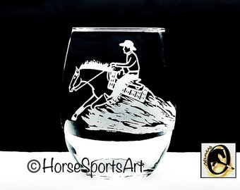 2 or 4 Reining or Roping SLIDING SKID Laser Engraved Wines - Choose Lady or Gent and Stemless or Wine Stems-Free USA s/h