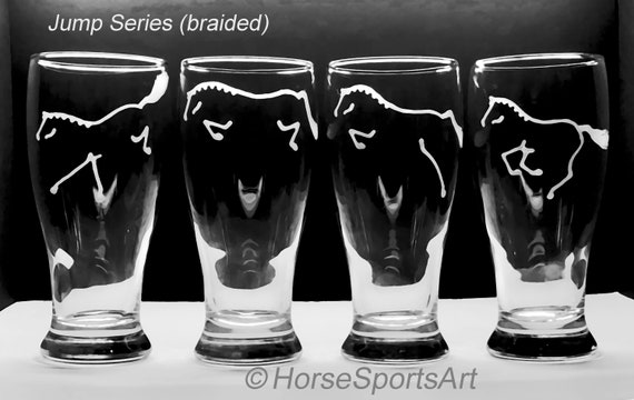 4 Beer Pilsners -or- Pub Glasses Custom Etched w/ Choice of Horse  ART,Monogram,Personalization,Racehorse,Mule,Saddleseat,Jumper,Reining
