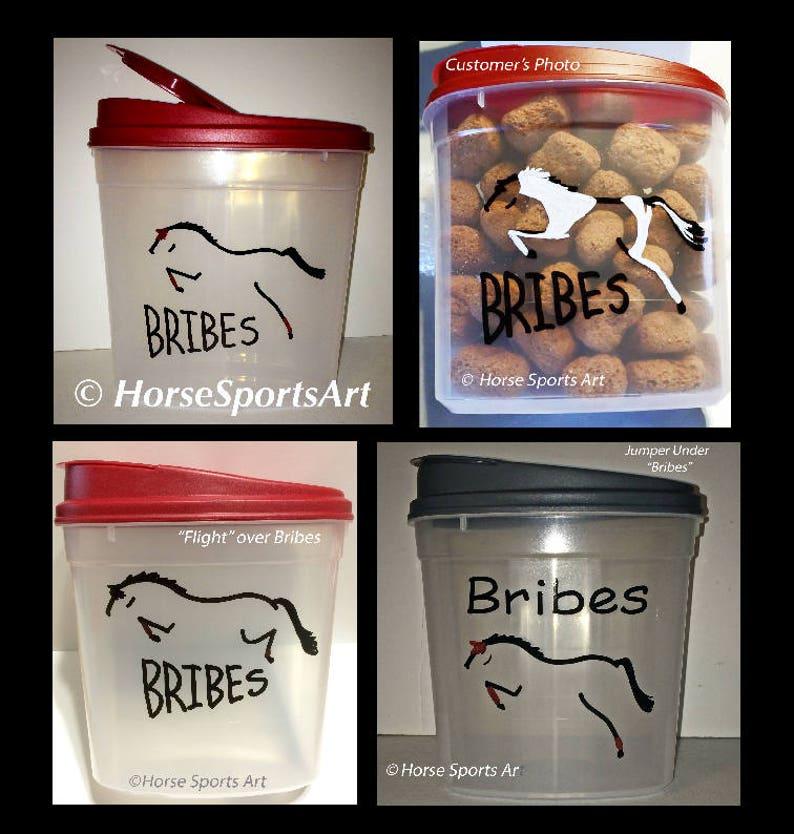 Custom Horse BRIBES Treats Container Dressage,Hunter Jumper,Reining,Friesian Choose Horse Art-Great Gift 25 cup capacity w Burgundy Lid