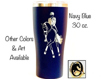 Laser Engraved Dressage Horse Travel Mug. 8 Colors. 20 or 30oz. ORIGINAL Half Pass ART. 2xInsulated St.Steel.No-Spill Lid. Can Personalize.