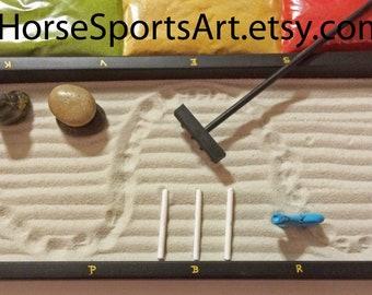 """Dressage Zen Garden. Tabletop Size Lettered Zen Arena with Stone Horse, Handcrafted Wood Zen Rake, Stones, 3 Cavalettis, & Sand""""Footing"""""""