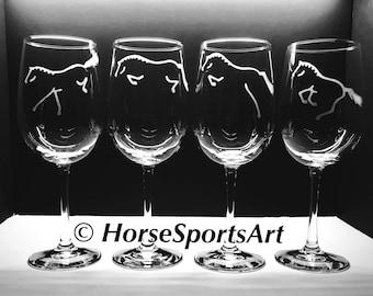 Hunter Jumper Horse Wines > Choose 2 or 4 Stemless or Stemmed. OTTB Horse, Hunter, Open Jumper, Equitation, Eventing Horse