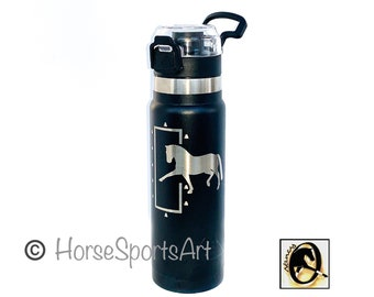 SALE: Laser Engraved Dressage Water Bottle with ORIGINAL Horse ART. Insulated Stainless Steel Hot/Cold. Flip Top Lid. Hang on Stall