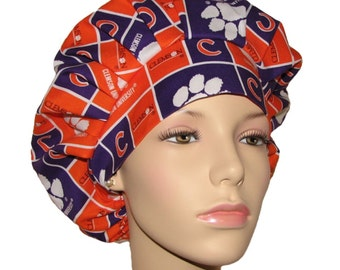 f11cbe7b490 Bouffant Scrub Hats-Clemson University Tigers Block Fabric-ScrubHeads-Scrub  Hats For Women-Scrub Caps-Surgical Hat-Clemson Scrub Hat