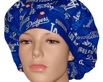 Surgical hat LA DODGERS chambray baseball scrub cap- Cotton BOUFFANT scrub cap Chemo cap,Washable hair cover Scrub hats Scrub caps