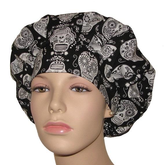41c48800763 Bouffant Scrub Hat-Black and White Sugar Skulls Glow in the