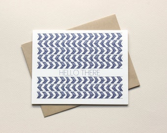 Modern Herringbone Hello There: Set of 8 Notecards