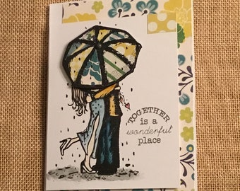 Love Card, Anniversary Card, Just Because Card, Together is a Wonderful Place,  Kissing in the Rain