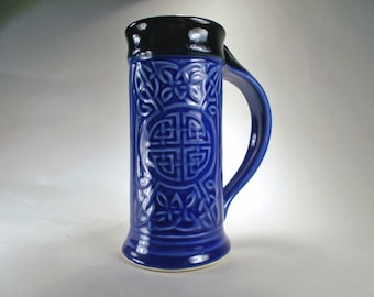 Celtic Beer Stein, Royal Blue, Handcrafted Stoneware Pottery, for Renaissance Costuming, Celtic Weddings, Celebrations, Kitchen, Dinnerware