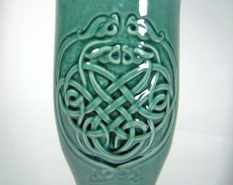 Celtic Dragon Knotwork, Pilsner Beer Mug, Green Gloss Glaze (22oz) Large Dinnerware Tumbler, Handcrafted Stoneware Pottery, Carved Design