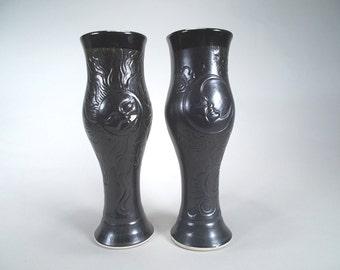 Pair of Sun, Moon, & Stars Pilsner Glasses, Celestial Dinnerware Tumblers in Black, on Sale Pottery Gift, Original Fantasy Art  Design