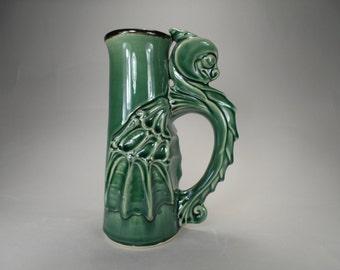 Emerald Green Dragon Stein, Handcrafted Stoneware, Sci-Fi Fantasy Art Pottery Beer Mug for Renaissance Festivals, Gamers, Unique Gift Idea