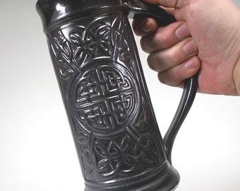 Celtic Stein, Satin Black, Handsome Carved Stoneware Pottery for Kitchen, Dinnerware, Weddings, Groomsman Gift, Graduation Gift