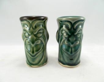 Pair of Gargoyle Shot Glasses, Green Glaze, Original Fantasy Art Pottery, Liqueur Cups, Bar Drinkware, Humorous Shot Glasses