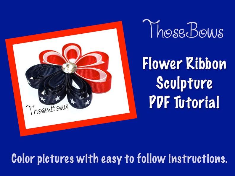 INSTANT DOWNLOAD 3D Flower Ribbon Sculpture Hair Bow PDF image 0