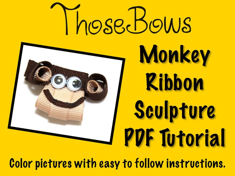 Instant Download Funky Monkey Ribbon Sculpture Hair Bow PDF image 0