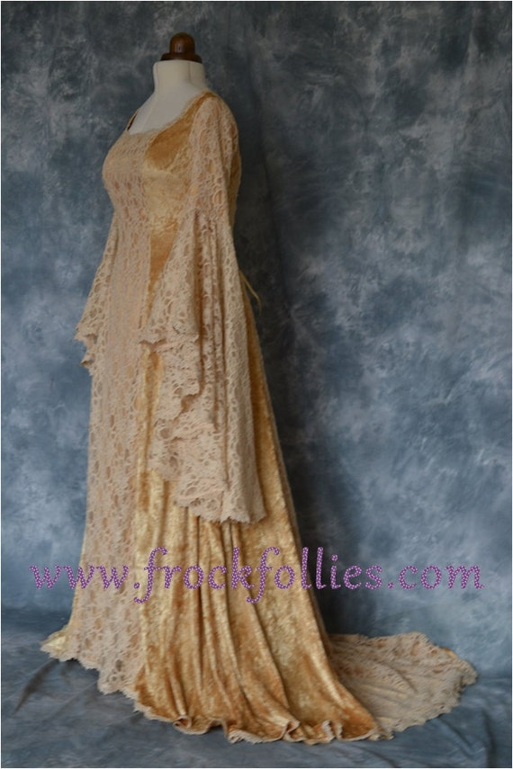 Medieval Dress Elvish Wedding Dress Renaissance Gown Robe | Etsy