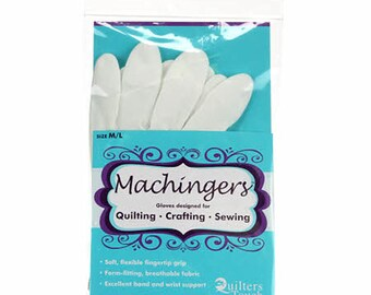 Machingers, 1 Pair, Size Medium/Large, For Easy Machine Quilting, Fingertip Grip, Breathable Fabric, Good Hand and Wrist Support, Gardening
