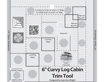 Curvy Log Cabin Tool, 1 Ruler, 6 Inch Curvy LC, Trim Tool, Finished Block is 6 Inches, Creative Grids, Non Slip, CGRJAW6, Log Cabin Circles