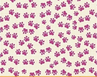 Dog Paws, 1 Yard, Quilt Fabric, Hot Dogs and Cool Cats, Dark Pink Paw Prints, Windham Fabrics, Dark Pink, Cream Background