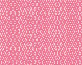 Pink Fabric, 1 Yard, Quilt Fabric, Art Gallery Fabrics, Premium Cotton, Bubble Gum Pink, Cream, Diamond Shapes
