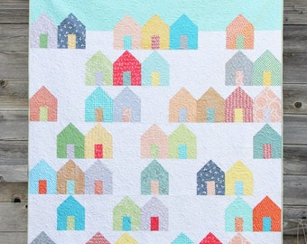 Pattern, Suburbs, Quilt Pattern,  Cluck Cluck Sew #137, Houses Pattern, Layer Cake, or Fat Quarter Pattern, 3 Sizes