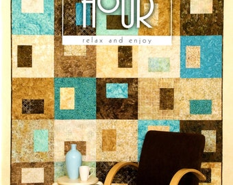 Happy Hour Patterns, 1 Quilt Pattern Book, by Atkinson Designs, My favorite is the black n red quilt, 4 Different Patterns, Multiple Sizes